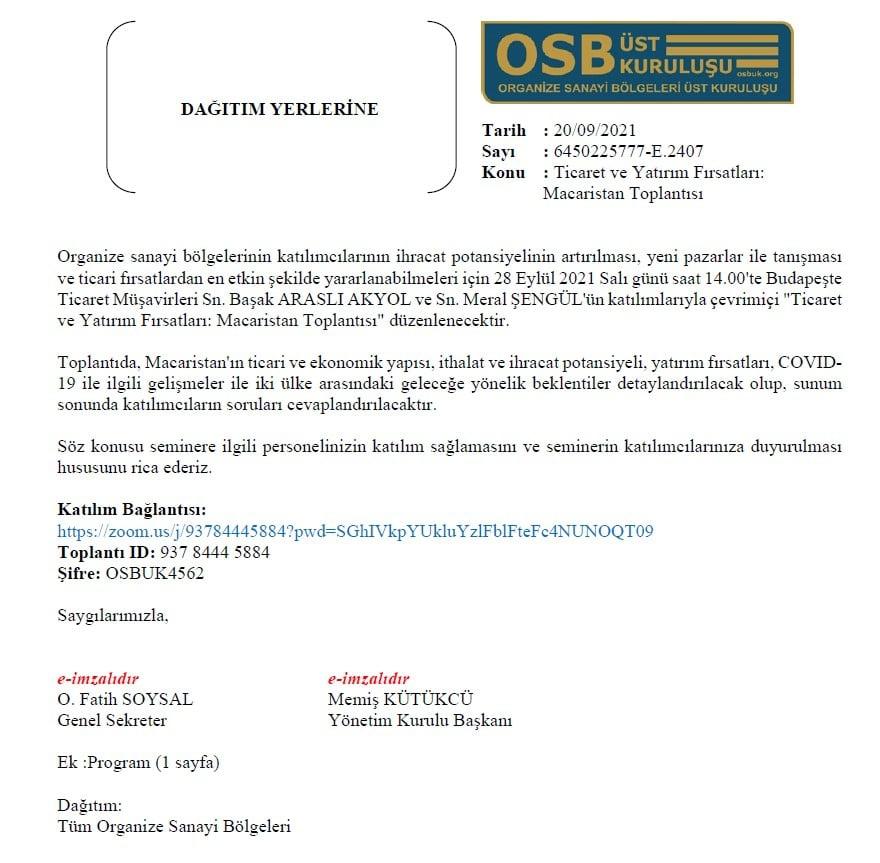 Ticaret ve Yatırım Fırsatları: Macaristan Toplantısı